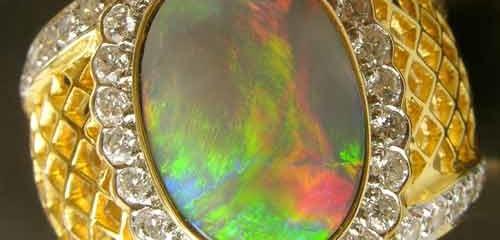 Opal Ring Handmade Natural Australian Opals .