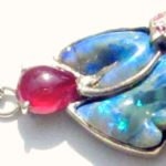 silver Jewelry opal necklace