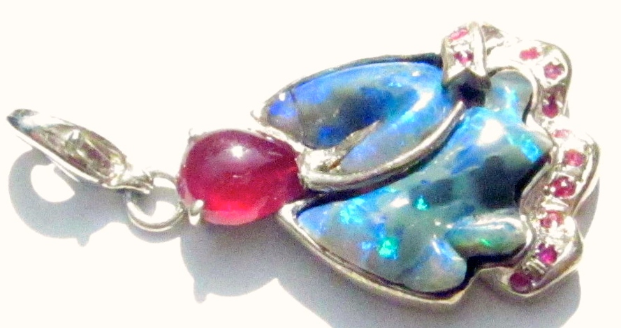 SOLD price was wholesale opals & Silver ruby necklace handmade .