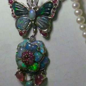 opals in silver necklace, custom opal jewelry