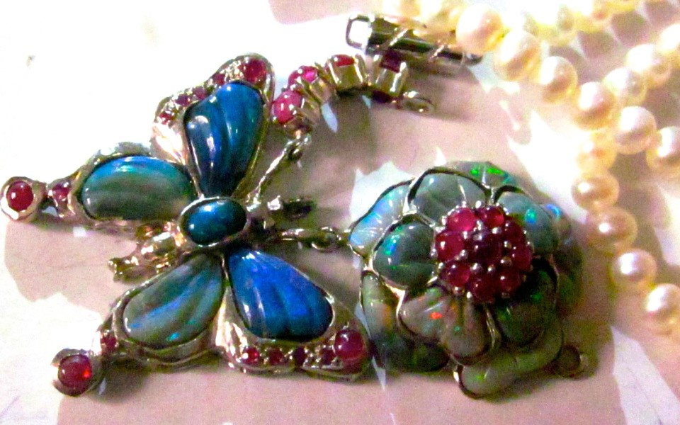 SOLD On Special silver handmade opal ruby necklace only $211.