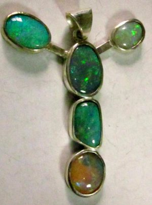 necklace silver with opals