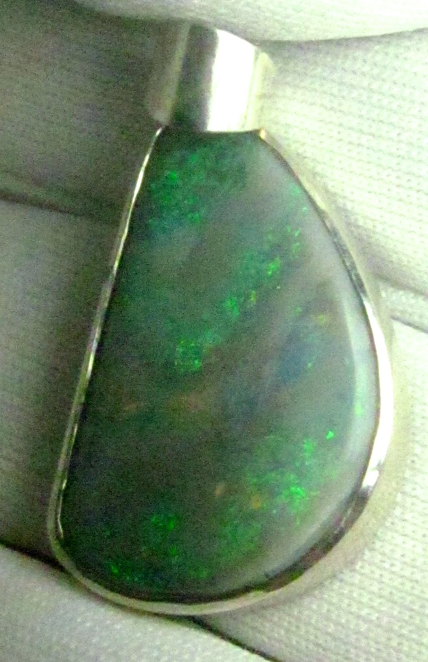 black opal silver necklace, opal silver necklace,green opal necklace