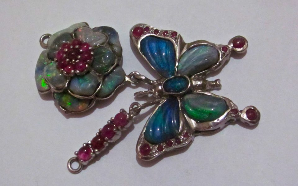 For sale fine jewelry opals & ruby's $292 size 2″ 3/8″ by 1″3/16″.