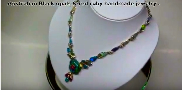 Sold opal jewelry with ruby's handmade.