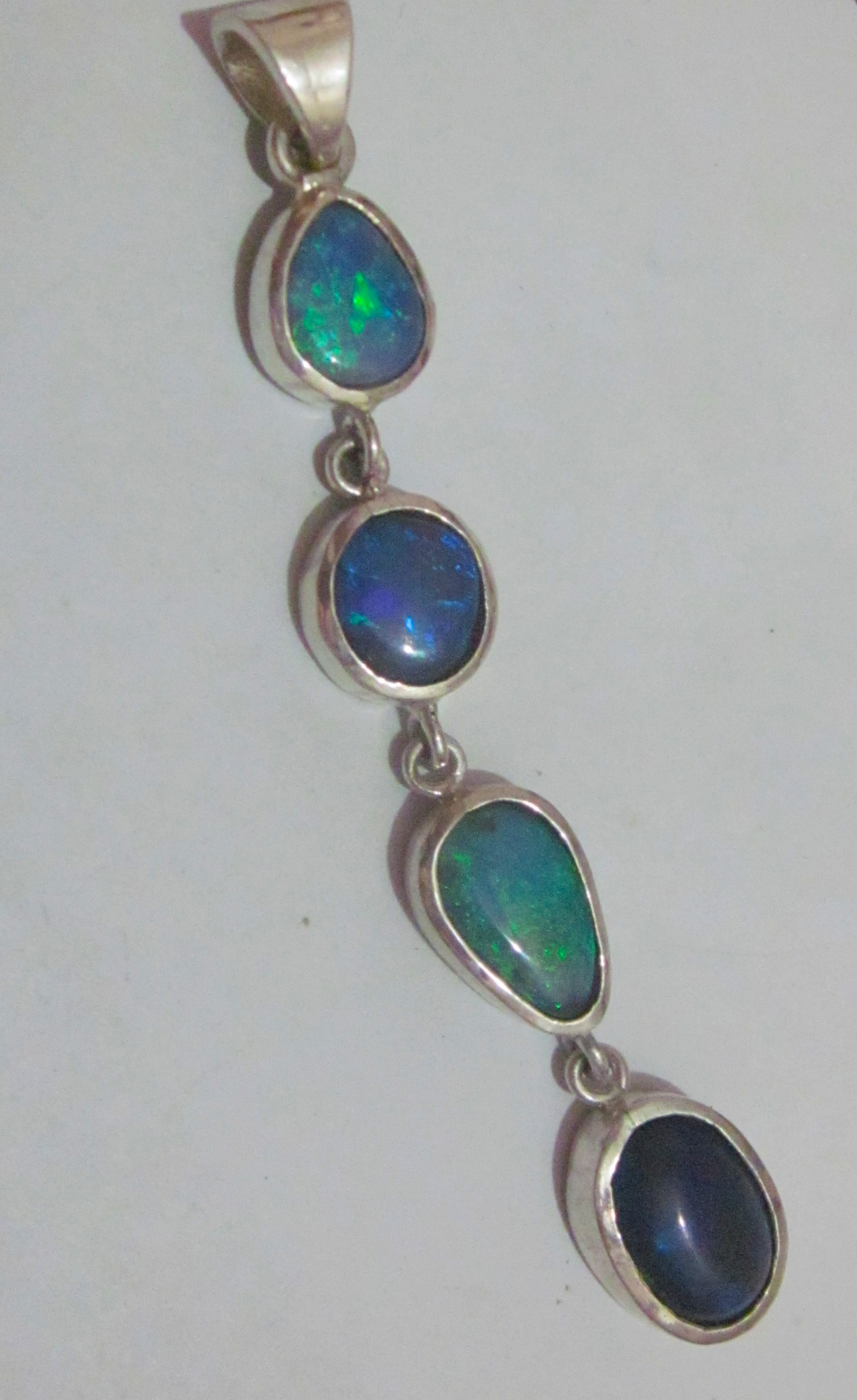 opal teardrop green w necklace sterling silver and pendant fire cz products blue
