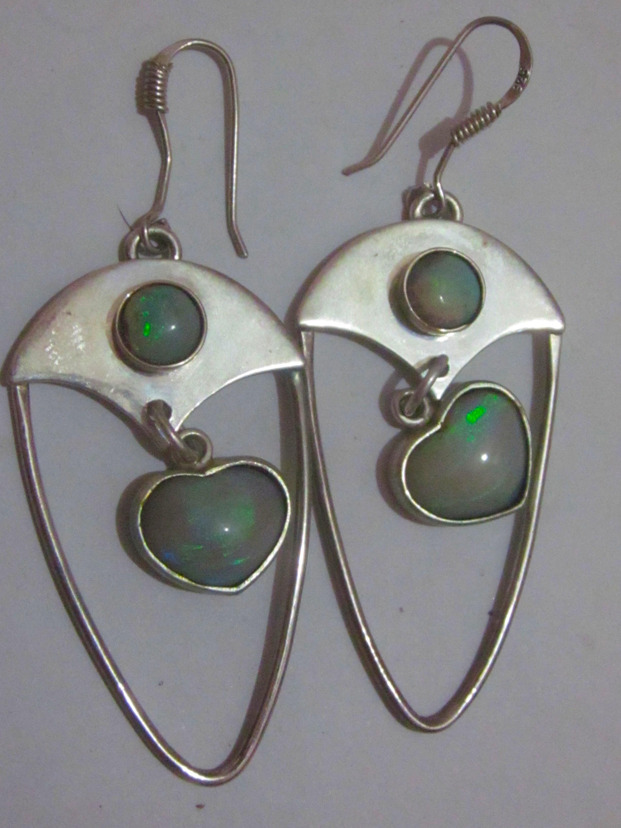 opal earrings black opal earringsearring jewelryhandmade