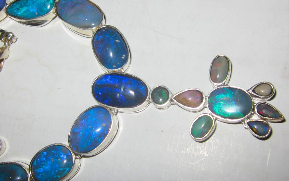 Necklace with gemstone opals wholesale $341.