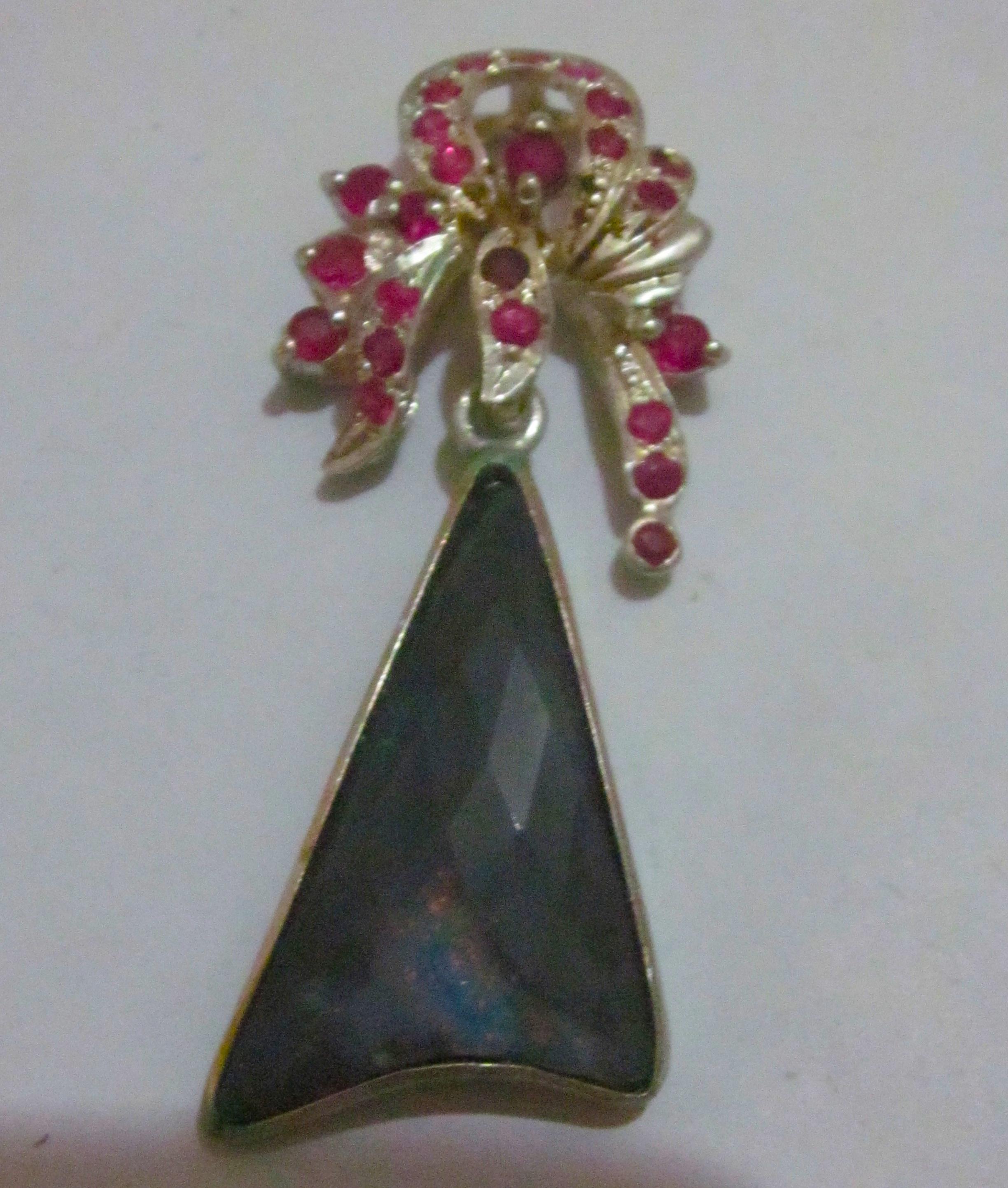 black opal pendant,opal pendant