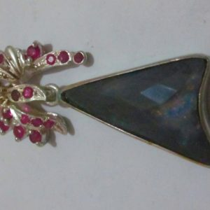 black opal necklace,black opal pendent, opal pendant