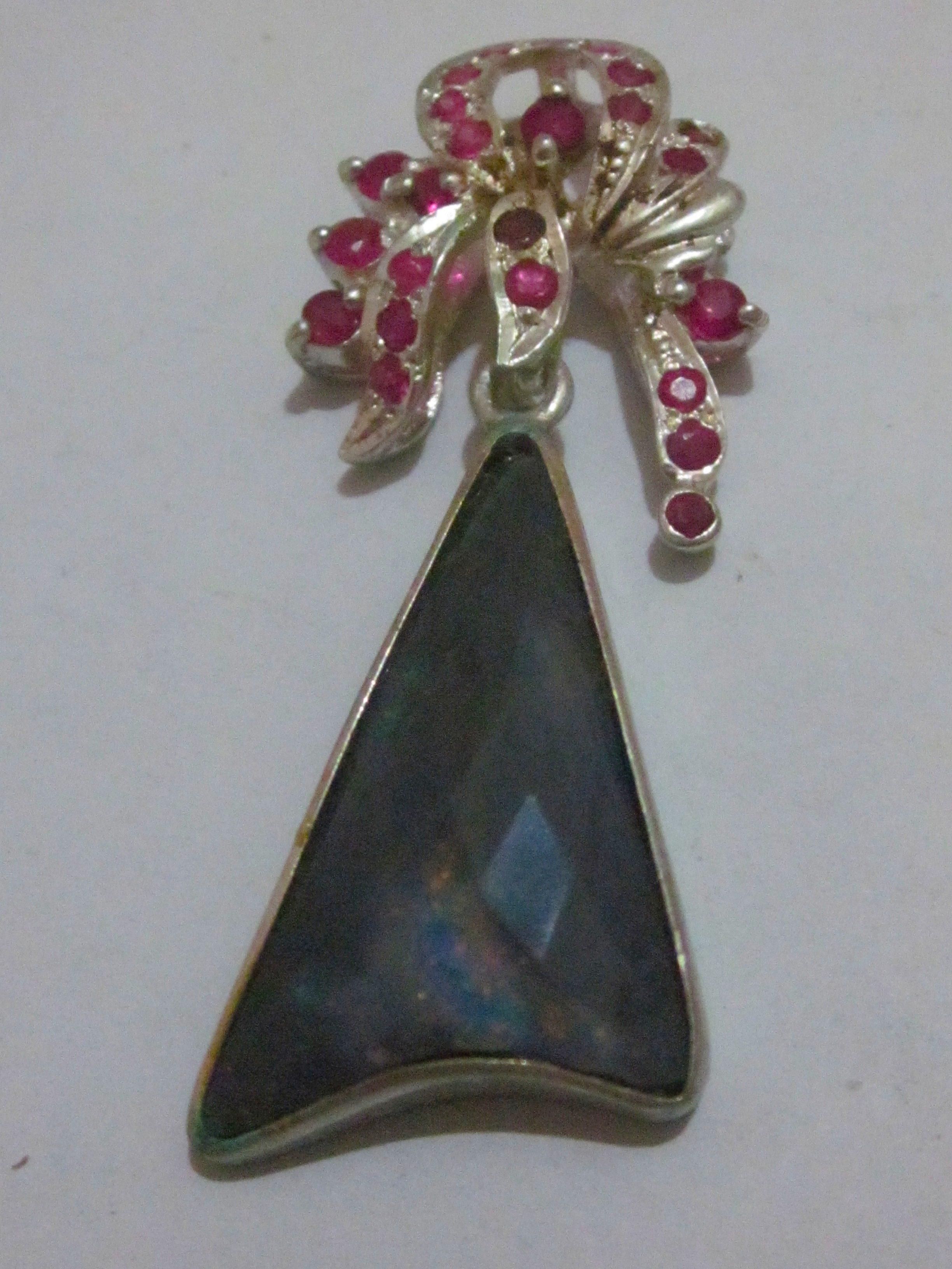 black opal necklace,black opal pendent