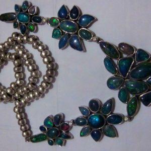 diamond black opal necklace