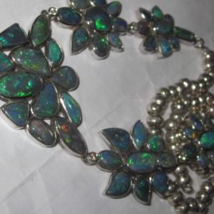 Handmade black opal necklace