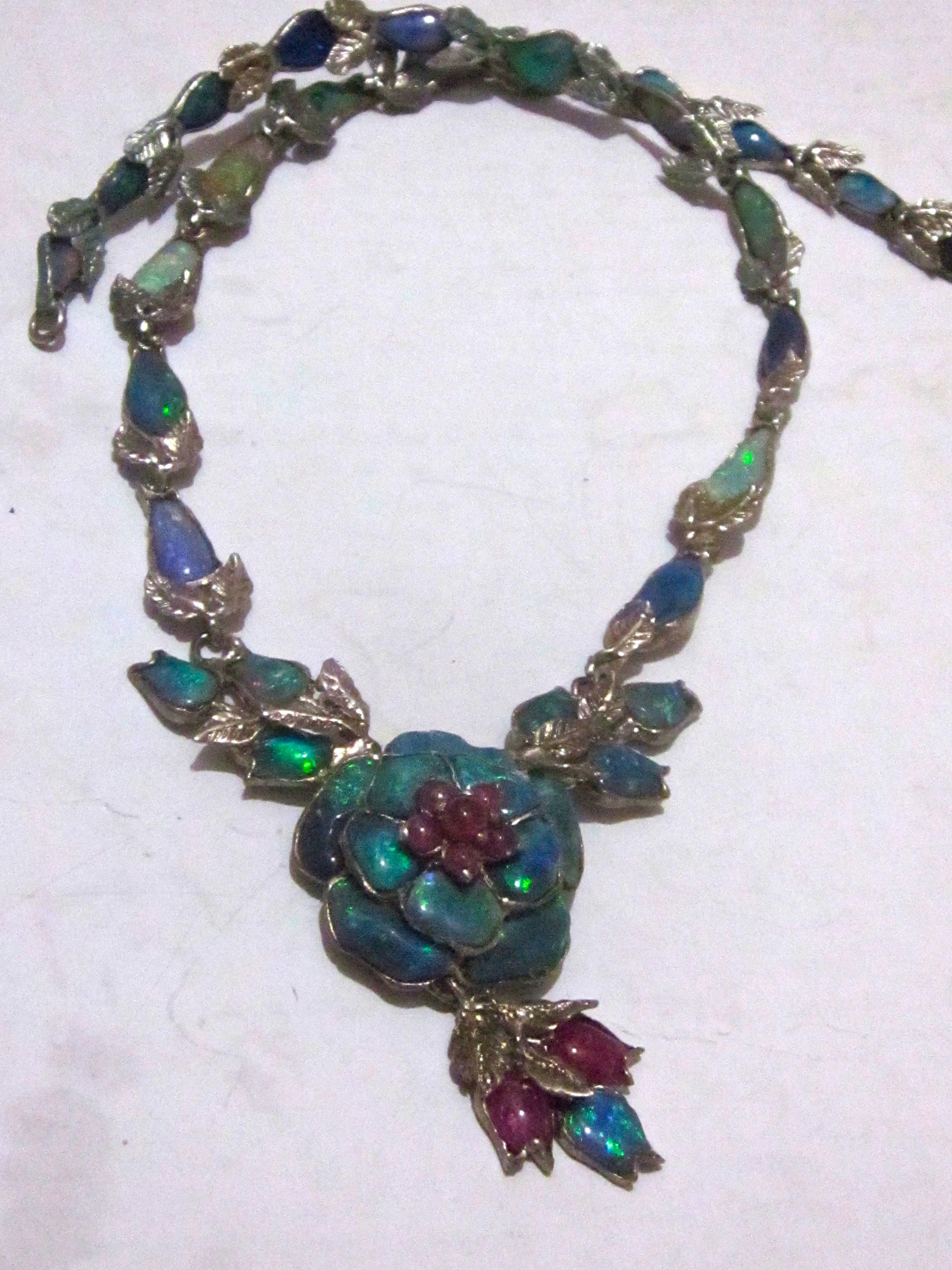 handcrafted black opal necklace