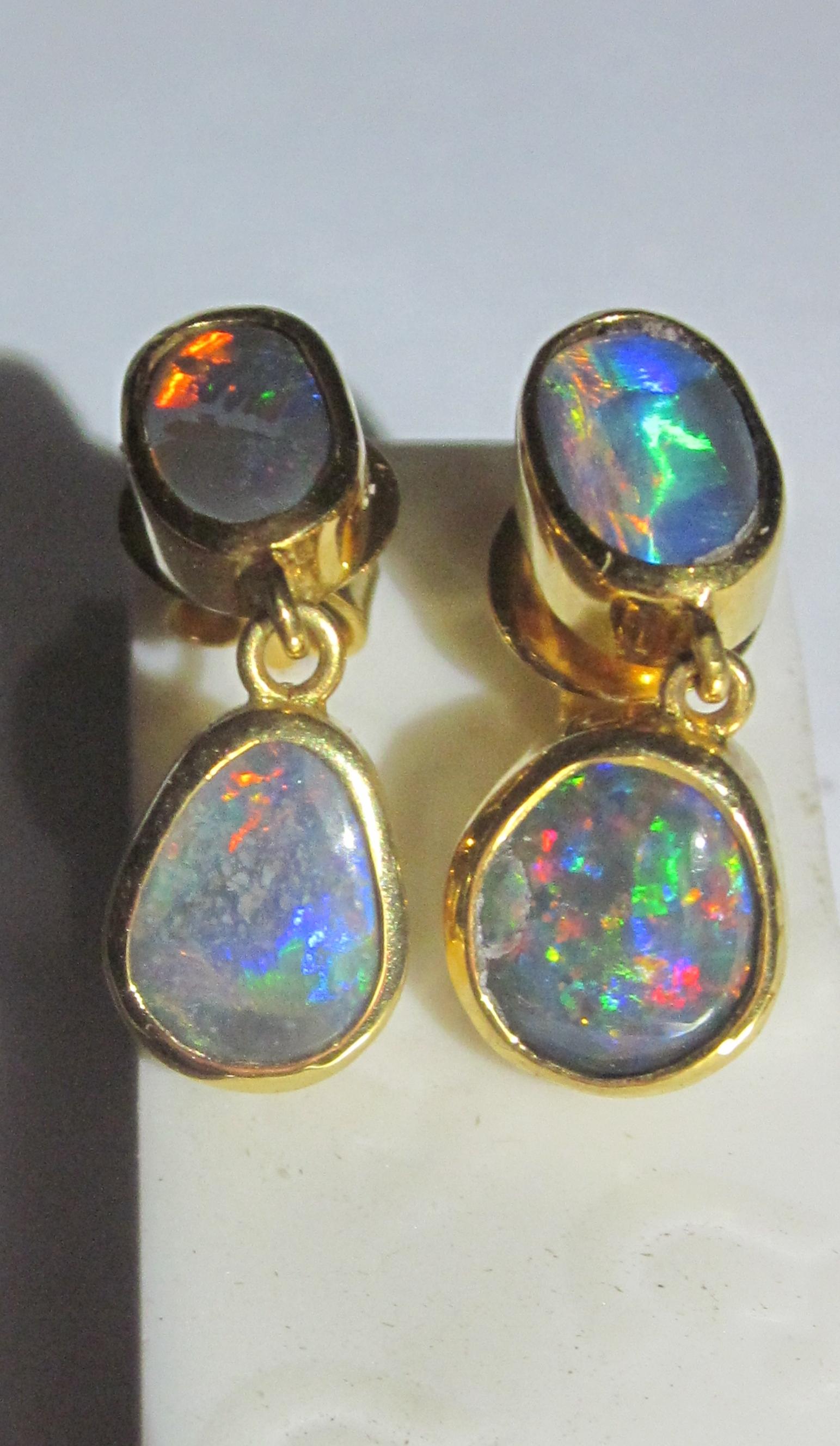 Earrings Opals Black Opal