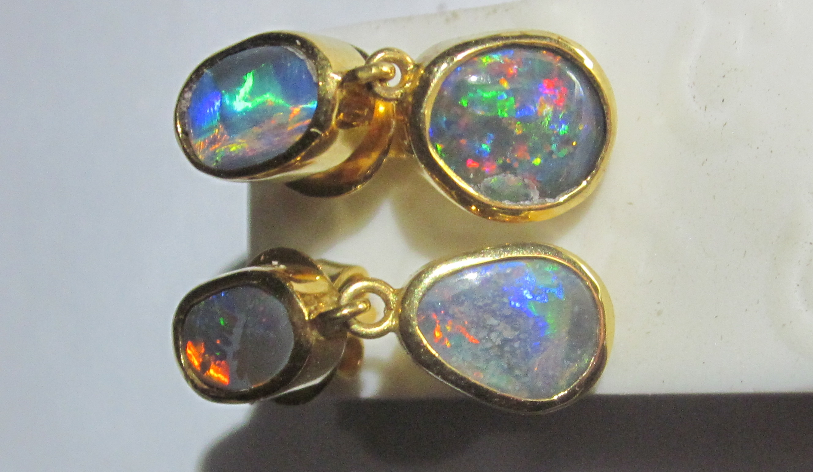 earrings markl xokeydpl filled stone meghan opal white yellow gold stud like itm