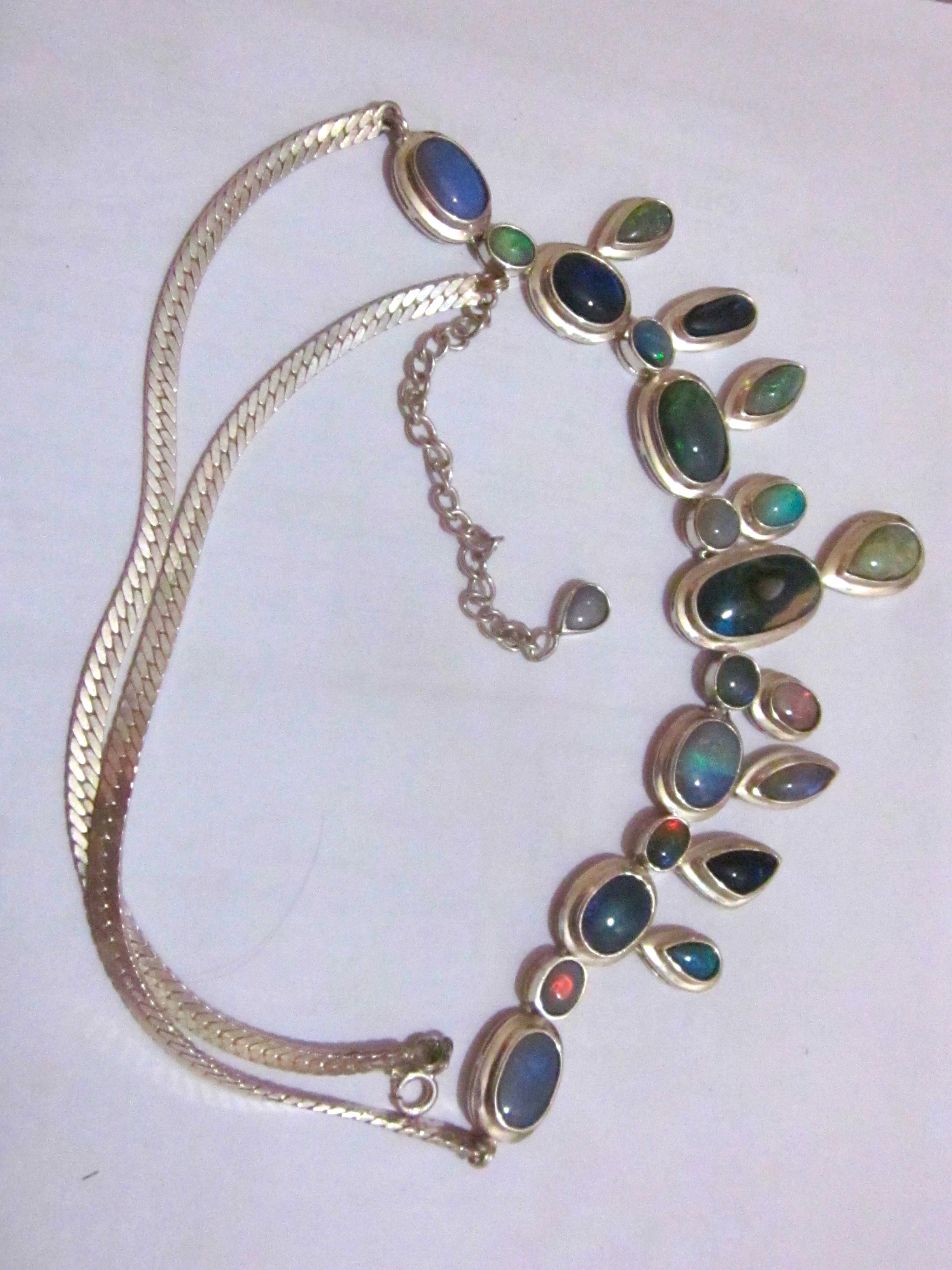 Silver Necklace Online Opal Necklace Handmade Opal Necklace