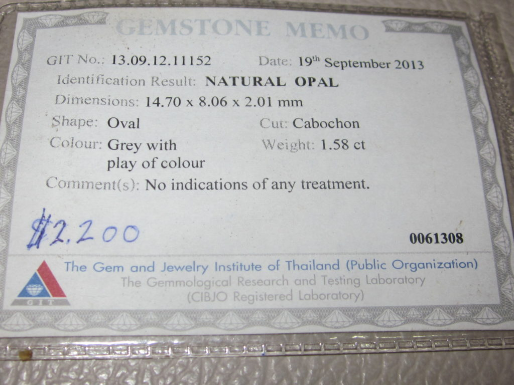 opal certificate, gemstone opal testing,opal testing,gem lab testing services,gemstone testing certificate, document proof solid opal
