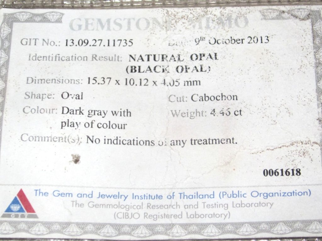 gemstone opal testing,opal testing,gem lab testing services,gemstone testing certificate, document proof solid black opal