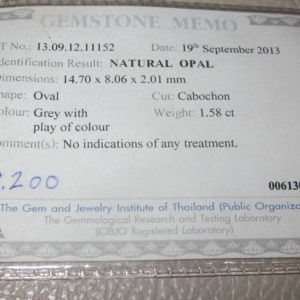 opal gemstone certificate