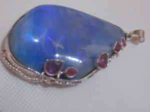 blue opal pendant,blue opal necklace