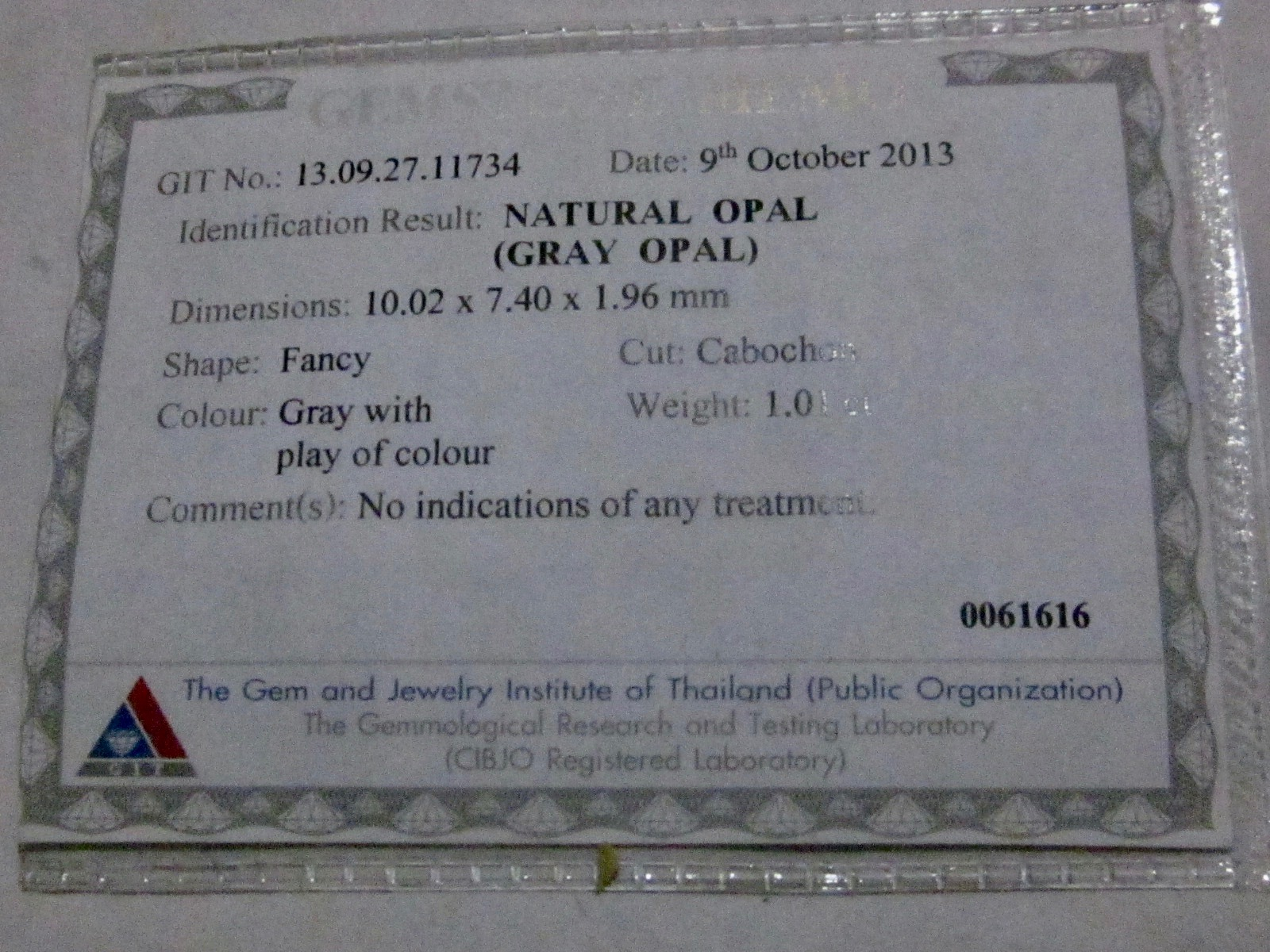 opal report, photograph opal lab report