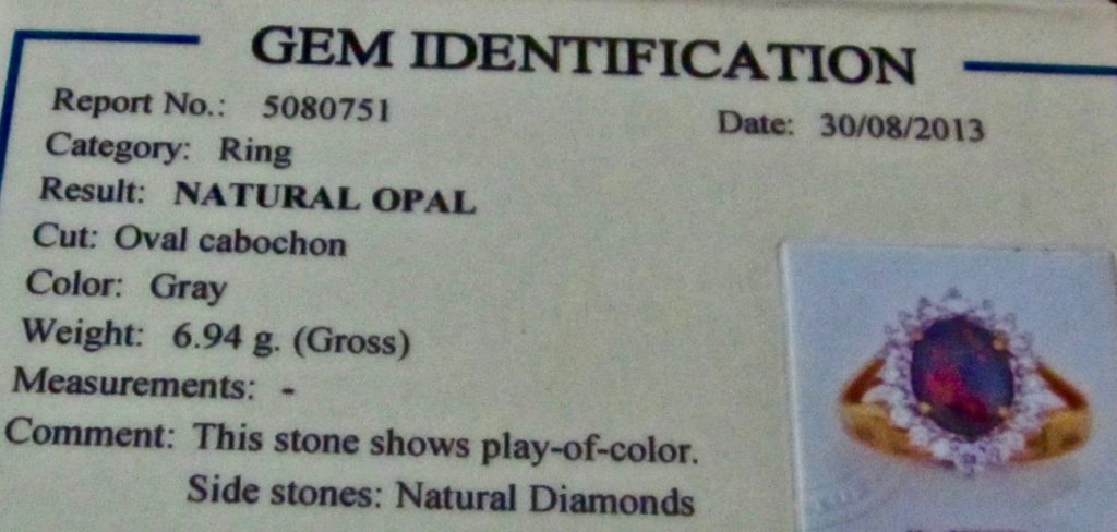 opal ring identification certificate details natural opal and diamonds.