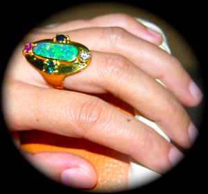 Custom made gold opal ring